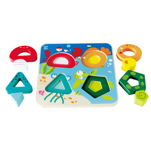 Hape Underwater Escapade 9 piece wood puzzle packaging
