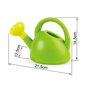 Hape watering can in bright green with lime green spout is made from BPA free plastic