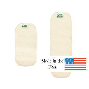 hemp babies diaper doublers are made in the USA and available in two sizes