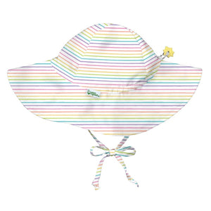 iplay brim sun protection hat, shown in white zinnia print, upf 50+ protection