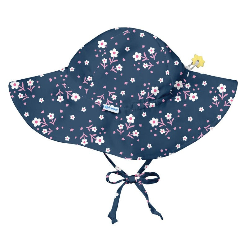 8f503acd3e6461 iplay brim sun protection hat, shown in white zinnia print, upf 50+  protection