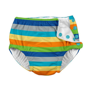 iplay swim diaper in gray multi-colored stripe, snap closure at one side