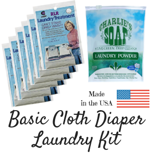 Cloth diaper laundry kit includes: Package includes 6 packets of RLR Laundry Treatment and one 2.64 lb. bag of powder Charlie's Soap and is made in the USA