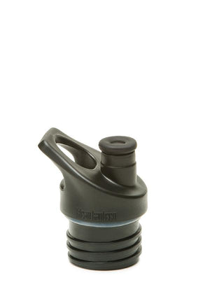 close up image of the black sport cap on a classic Klean Kanteen bottle