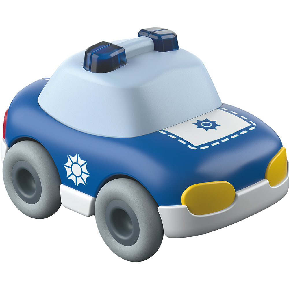 HABA Kullerbü Dump Truck with ball is orange, yellow, and blue