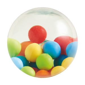 Haba Kullerbü Colorful Balls Bouncy Ball is filled with water, and smaller plastic balls inside, measures 2""