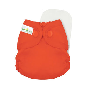 bumGenius Littles Newborn Cloth Diaper, organic cotton, shown in jolly yellow, made in the usa