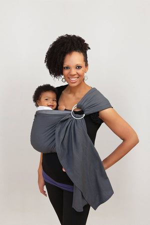Maya Wrap ComfortFit Ring Sling in Asher features light grey, dark grey and black  lengths of color