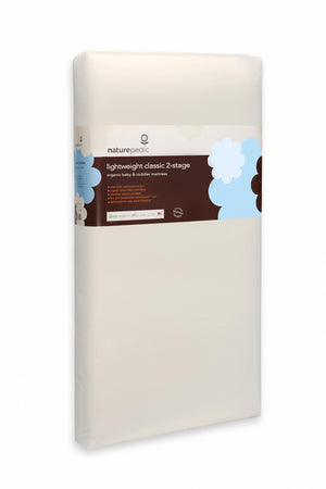 "naturepedic organic cotton lightweight classic baby-toddler mattress measures 27.75"" x 52"" x 6"", made in USA"