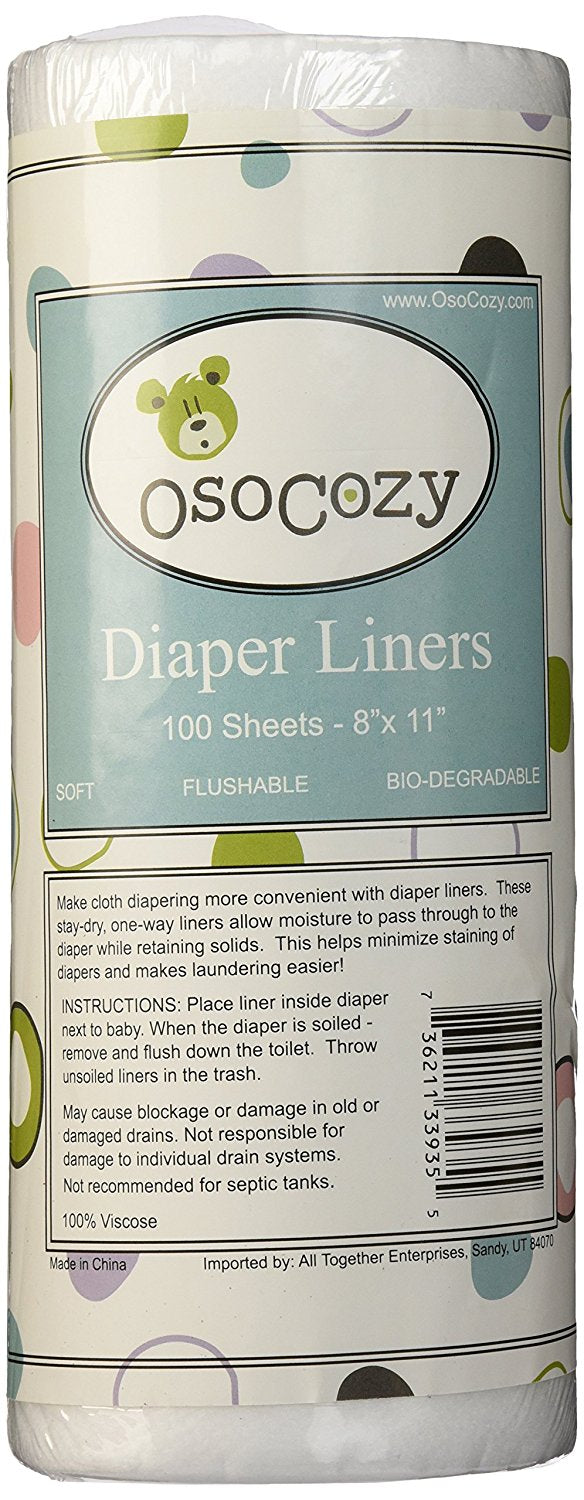 OsoCozy Flushable Diaper Liners, 100/Roll