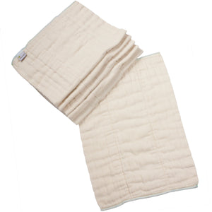 OcoCozy Unbleached Indian Prefolds in infant size, diaper cover required