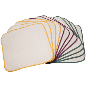 OsoCozy Unbleached Terry/Flannel Wipes 100% Cotton - 12 pack with multi-colored stitching