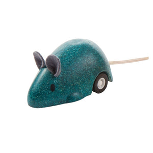 plan toys moving mouse is available in 3 colors, blue, yellow, and pink
