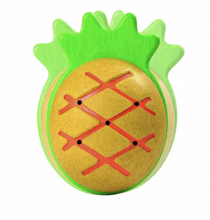 pineapple maraca by plan toys is made from sustainable wood