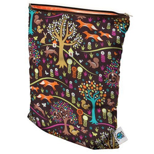 "Size medium Planet Wise Wet Bag, Oasis print, multi-colored paisleys, flowers, waves, and shells, measures 12.5"" x 16"" with 1 zipper and made in USA logo"