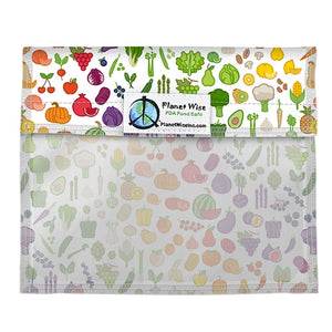 "Planet Wise Reusable Snack Window Bag, Farmers Market print, multi-colored fruits and vegetables measures 5.5"" x 7"" and is made in the USA"