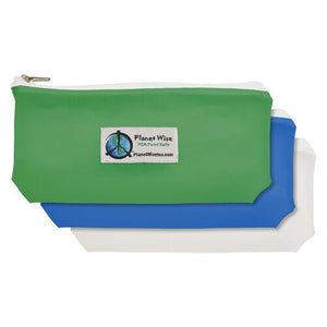 "planet wise reusable snack bags feature a zipper, measure 3.5"" x 7"" and are made in the USA"