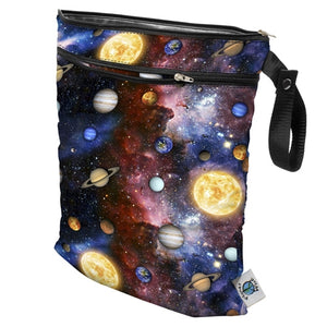 "Planet Wise Wet/Dry Bag, Fancy Pants print, red, orange, yellow, and aqua mini flowers and made in the USA logo, measures 12.5"" x 15.5"" with 2 zippers"