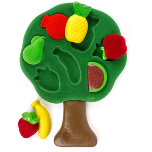 "Pieces included in the Rubbabu 3D Fruits Shape Sorter contains 2 parts and 7 pieces with tree leaves measuring 9"" across and 8""high, trunk measuring 4"" high"