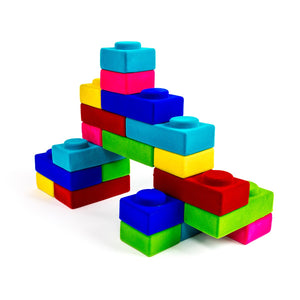 Rubbabu natural rubber blocks includes 10 rectangular and 10 square blocks in bright colors