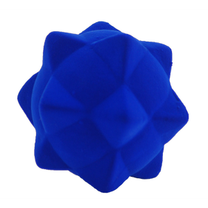 Rubbabu Whacky Balls Natural Rubber Royal Blue ball with pyramid design