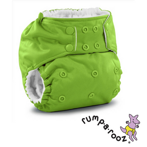Rumparooz One Size Pocket Diaper in Snaps, Solid color Tadpole Green shown