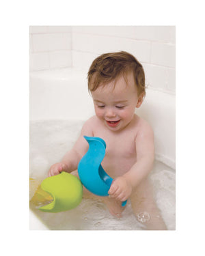 Skip Hop Dunck stacked bath toys with yellow in green in blue, measures in inches 7.75l x 3.5w x 3.5h