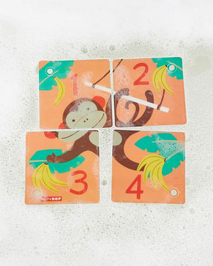skip hop zoo count and play bath puzzle, monkey and numbers side with stroller ring