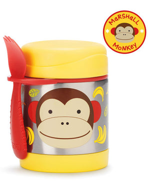 Skip Hop Insulated Food Jar in Monkey Style shown with spork