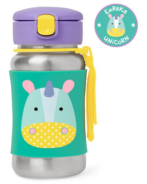 Skip Hop Stainless Steel Straw Bottle in dog motif, shown at angle