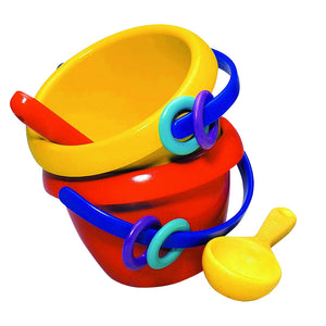 Baby Sand Bucket by Spielstabil, choice of a red bucket with rattles with yellow digger spoon or a yellow bucket with rattles with red digger spoon