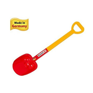 Spielstabil Sturdy Beach Shovel is red and measures approximately 27.5 inches