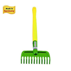 "Spielstabil Garden Rake for toddlers measures 30"" tall"