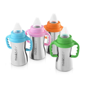 Thinkbaby stainless steel sippy cups, see through cap, holds 9 ounces