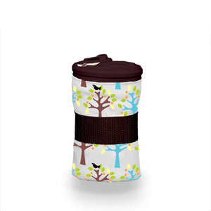 Thirsties Wet Bag in Birdie print, teal, yellow and navy leafy branches with yellow birds, measures 16h x 14w, made in USA