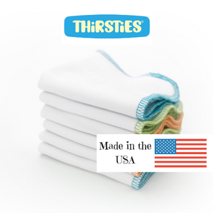 Thirsties organic cloth wipes come in a six pack and are made in the USA