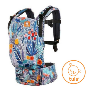 Tula brand Free To Grow Baby Carrier, for use from 7 lb, shown in Mystic Meadow print