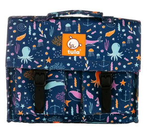 Tula Kids Backpacks are 4 inches deep, 9 inches high, and 12 inches wide with adjustable arm and chest straps and come in adorable fun prints