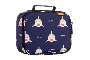 tula lunch bag in chomp print features a playful pattern of grinning gray sharks on a dark navy background