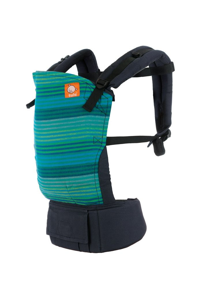 Toddler Tula Baby Carrier in Laguna Sky print, shown with Tula brand logo