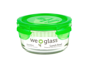 wean green glass lunch bowls hold 12 ounces and a choice of colorful easy lock lids