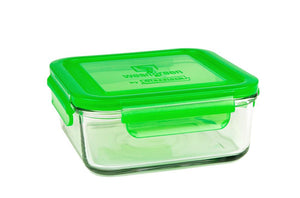 wean green 28 ounce glass meal cube with a blue locking lid