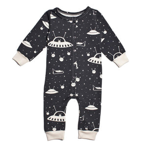 winter water factory french terry jumpsuit in outerspace print with white space ships, stars, and aliens on charcoal black background are made in New York State