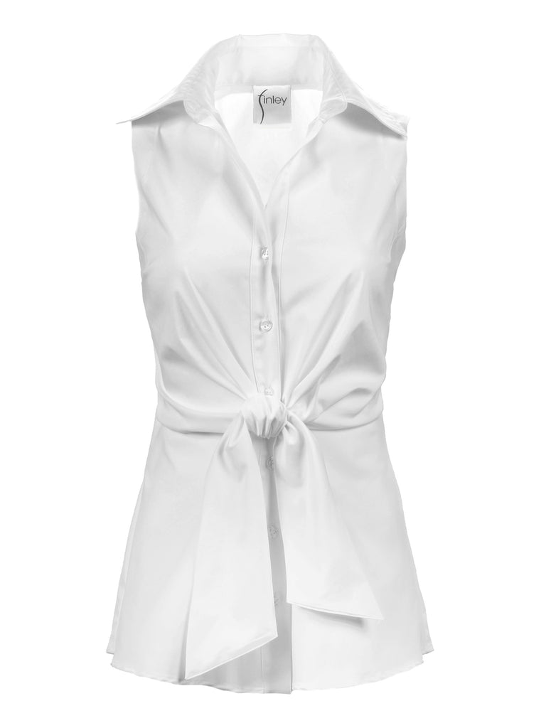 Walter Sleeveless White Poplin