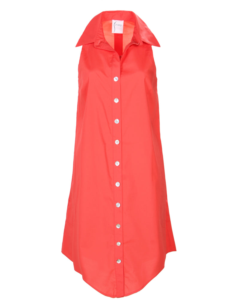 Swing Dress Coral Polished Cotton
