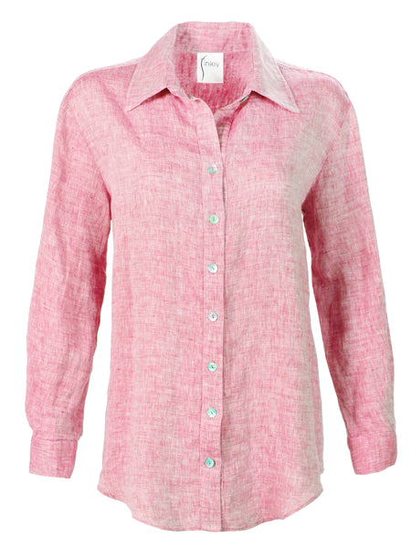 Washed Linen Monica Shirt Coral