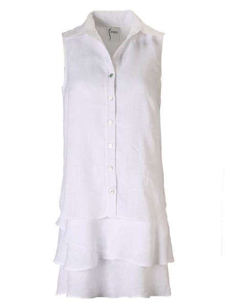Jasmine Tier Dress White Linen
