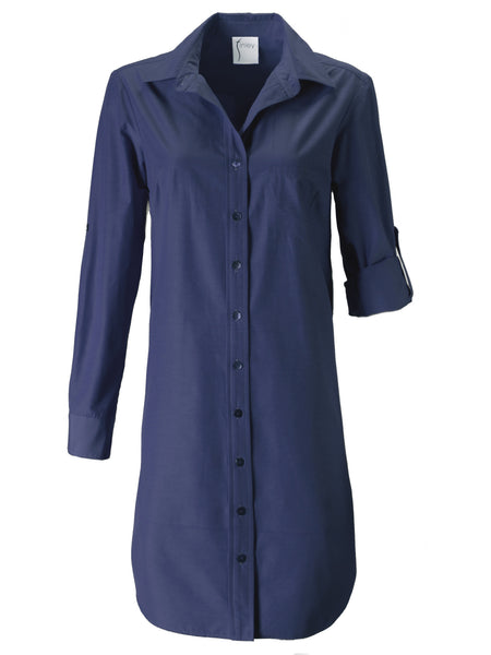 Alex Shirtdress Navy Polished Cotton