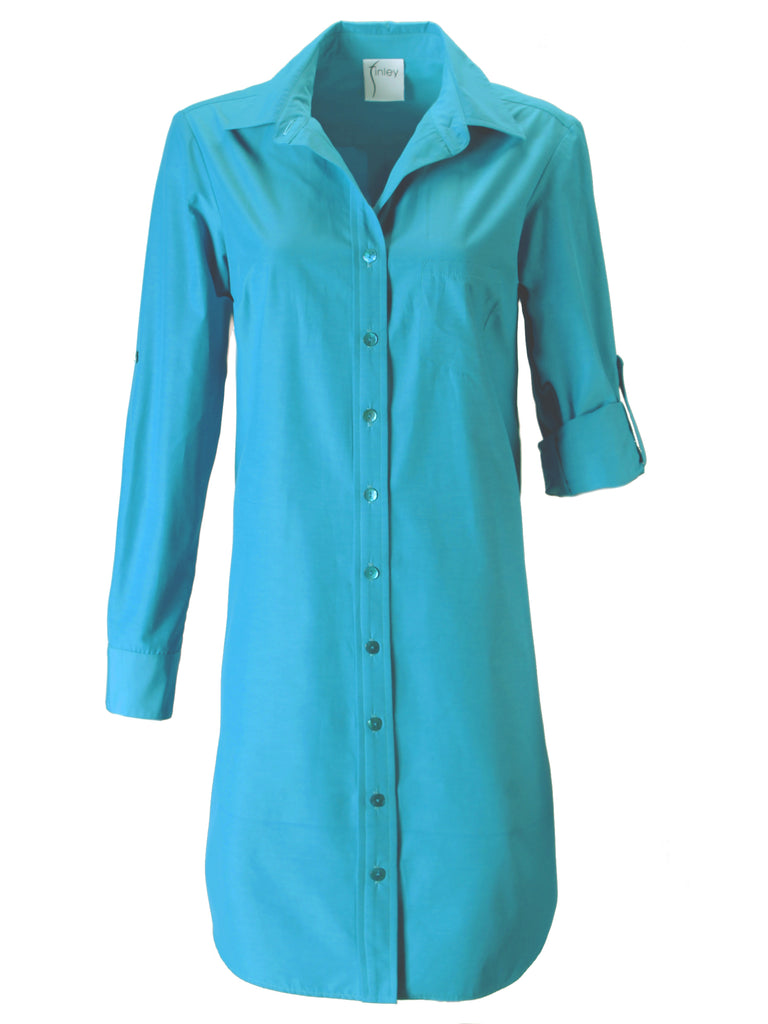 Alex Shirtdress Turquoise Polished Cotton