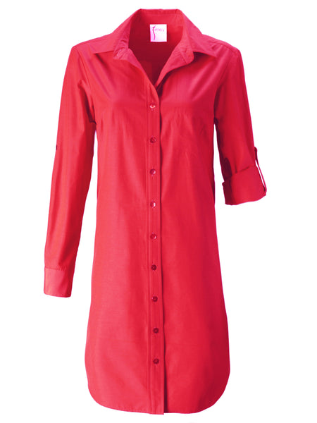Alex Shirtdress Watermelon Polished Cotton